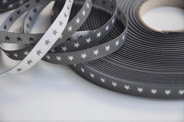 farbenmix-Webband - Sternchen grau/silber