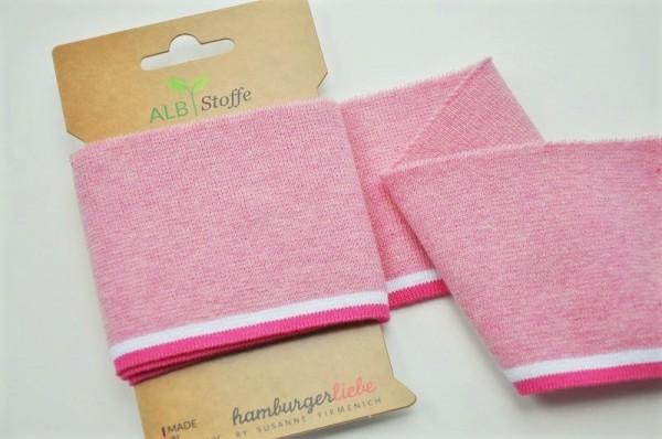 Abstoffe Bündchen - CUFF Me COLLEGE - rosa, weiß, pink