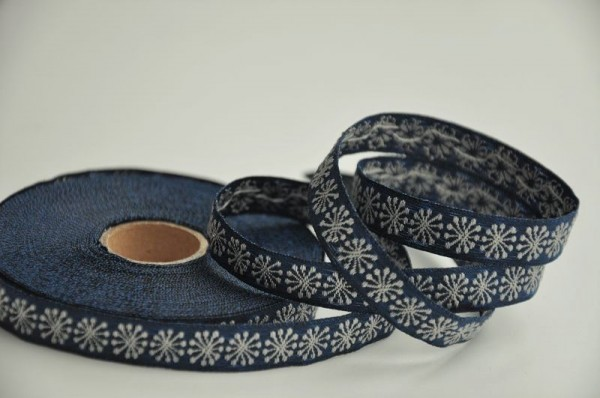 Baumwoll Webband - Blumen dunkelblau