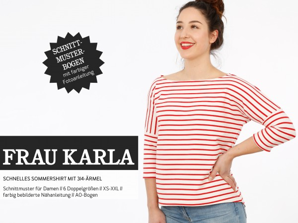 Schnittmuster Damen - FRAU KARLA, Shirt mit 3/4-Ärmel - SX-XL - Studio Schnittreif