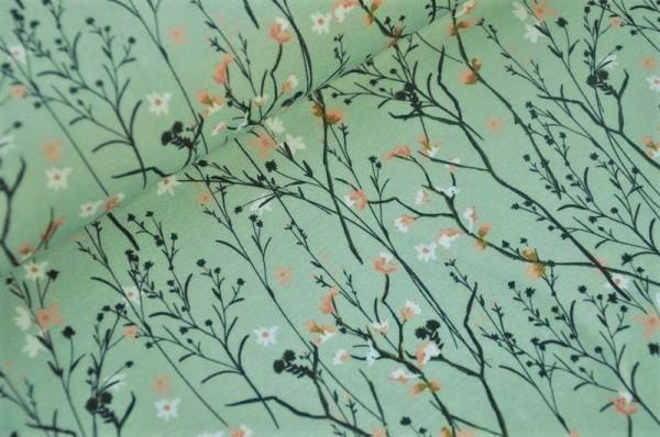 Jersey - Blüten & Zweige, pastellmint - 95% Baumwolle, 5% Elasthan