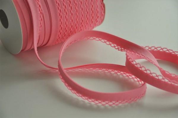 Schrägband / Abschlussband mit Häkelkante - rosa, 12mm