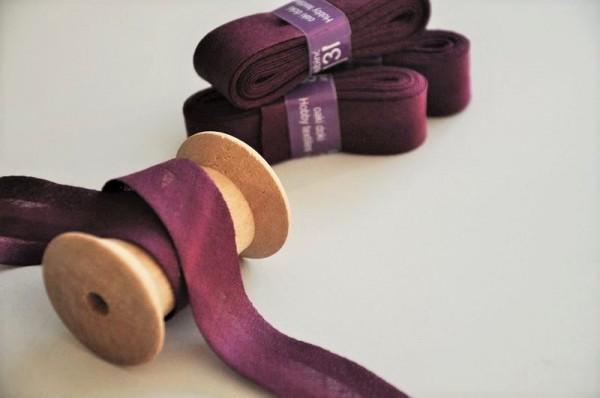 Baumwoll Schrägband 3 Meter - uni, pflaume, 20mm breit - 100% Baumwolle