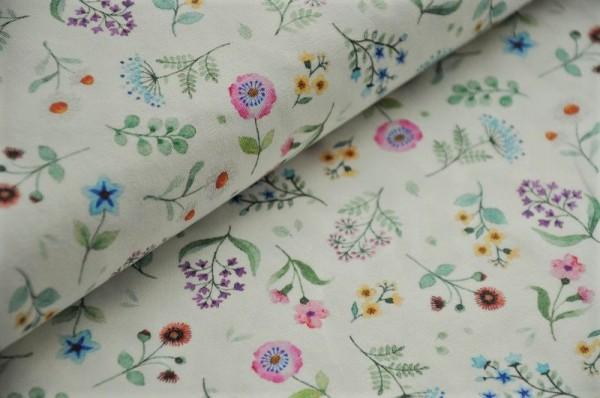 Hilco Jersey - Girls Liberty, Gartenblumen, cremeweiß - 90% Baumwolle, 10% Elasthan