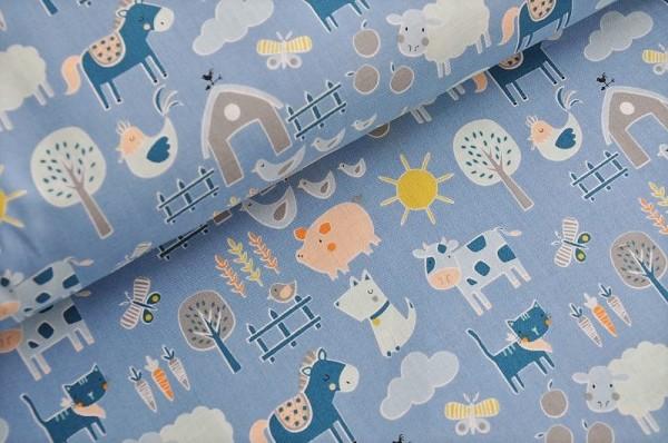 Kinderstoff Webware - Cluck Moo Oink, blau - 100% Baumwolle