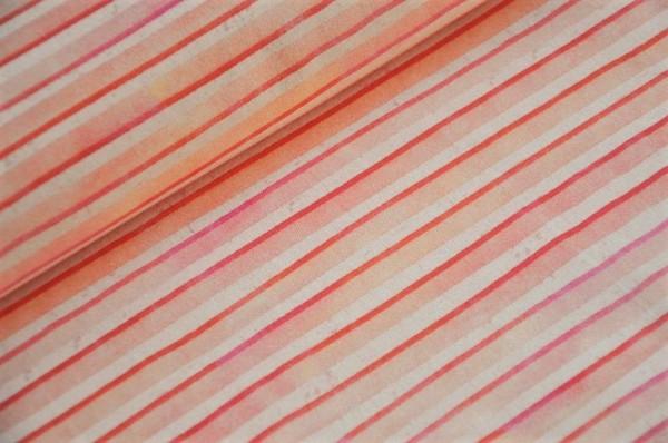 Bio Webware - Erdbeerbonbon - 100% Baumwolle, Kinderstoffe, Meterware, Streifen