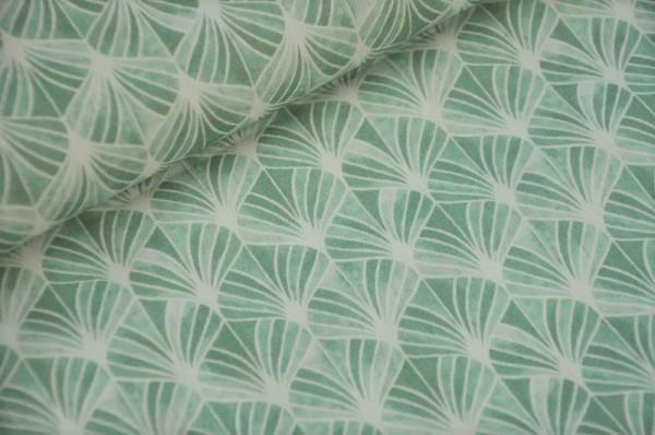 Hilco Stoffe - Webware - Popeline Emilie grün, Leaves - Baumwollstoffe