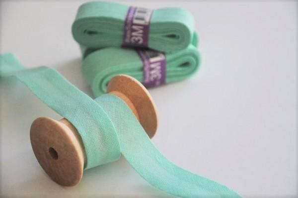 Baumwoll Schrägband 3 Meter - uni, mint, 20mm breit - 100% Baumwolle
