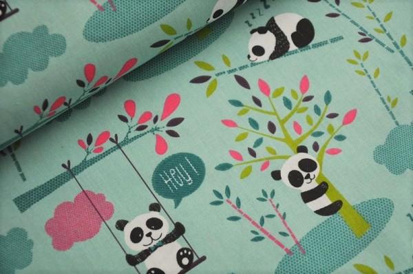 Kinderstoff - Panda - Meterware, 100% Baumwolle