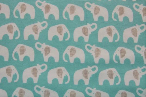 Bio-Flanell - Elephant, türkis