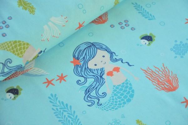 Hilco Jersey - Love Mermaid, Meerjungfrau - 90% Baumwolle, 10% Elasthan