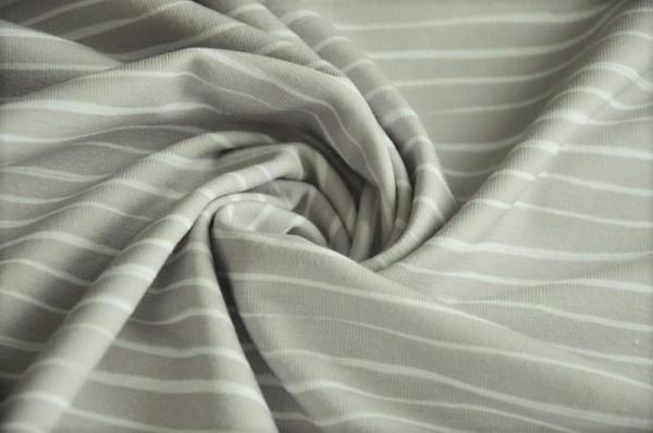 Bio Jersey, Lillestoff, gestreift, grau, weiß, Oso Stripe, Meterware online kaufen