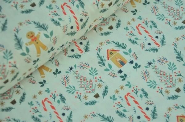 Webware - Cozy & Joyful, Ginger Joy, mint - Weihnachtsstoff, Patcworkstoff, Lebkuchenmann
