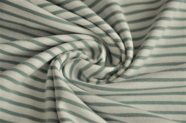 Lillestoff Jersey - Ringel cremeweiß/altgrün - 95% Baumwolle, 5% Elasthan, Meterware, Streifen