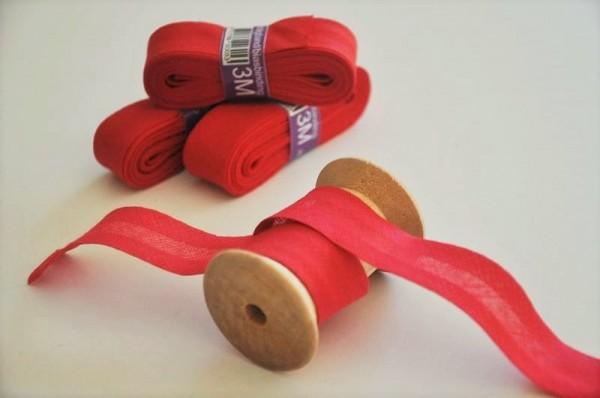 Baumwoll Schrägband 3 Meter - uni, rot, 20mm breit - 100% Baumwolle