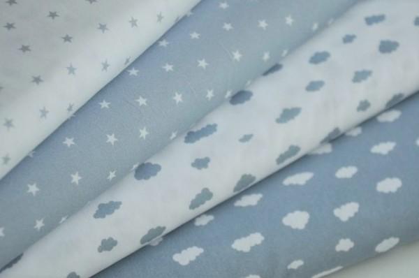 Stoffpaket Webware - Mini Baby, Wolken & Sterne, blau - Kinderstoffe, Meterware