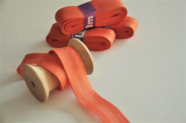 Baumwoll Schrägband 3 Meter - uni, dusty orange, 20mm breit - 100% Baumwolle