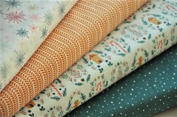 Stoffpaket Webware - Weihnachten, Cozy & Joyful - 100% Baumwolle, Weihnachtsstoffe, Patchworkstoffe