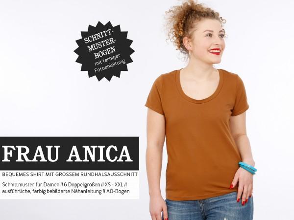 FRAU ANICA - Basicshirt mit großem Rundhalsausschnitt - Studio Schnittreif, Shirt Damen, Papierschnittmuster