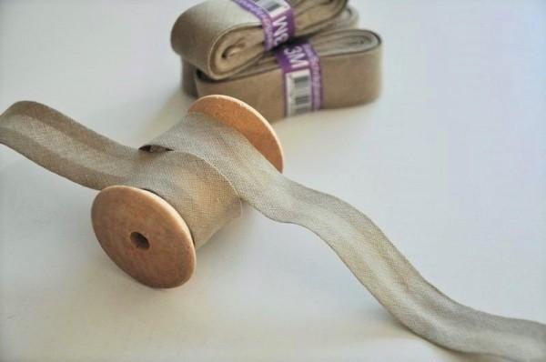 Baumwoll Schrägband 3 Meter - uni, taupe, 20mm breit - 100% Baumwolle