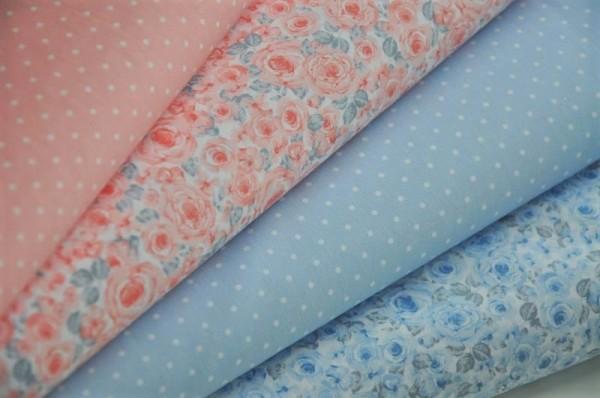 Stoffpaket Webware - Emilie, Roses & Dots - 100% Baumwolle, Hilco, Frühling, Blumen, florale Stoffe