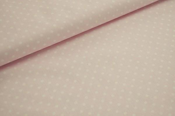 Bio-Popeline - Punkte, rosa/weiß