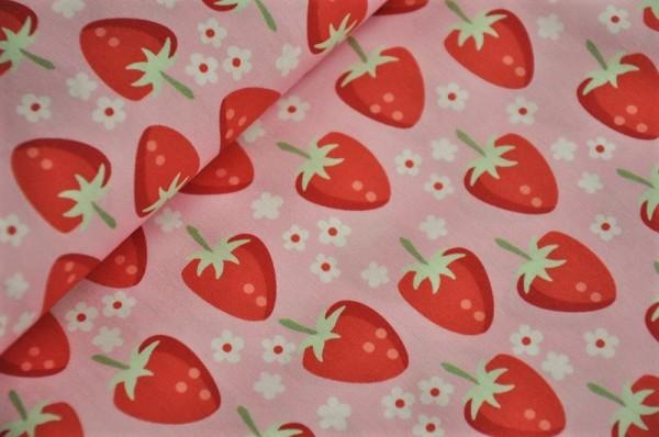 Webware - Fresh Fruits, Erdbeeren, rosa - 100% Baumwolle, Kidnerstoffe, Sommer, Frühlingsstoff, Meterware
