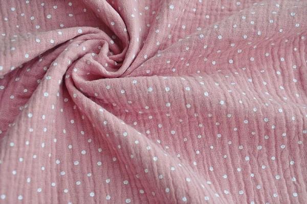 Hilco - Baumwoll Musselin - Punkte, rosa