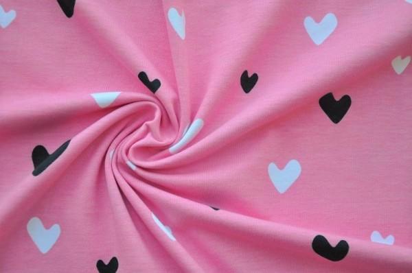 Bio-Jersey - Hearts, rosa