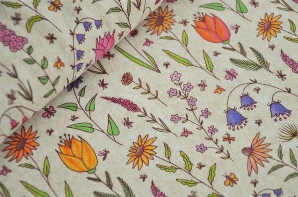 Lillestoff Bio Jersey - Blumen Garten, hell - 95% Baumwolle (kba), 5% Elasthan, Frühlingsstoff, Meterware