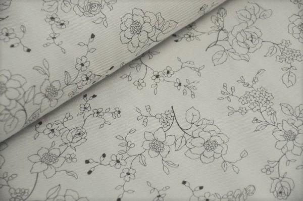 Webware - Baumwoll-Twill - Winter Flower, grau