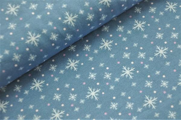 Hilco Jersey - Winterbird - Schneekristalle Blau