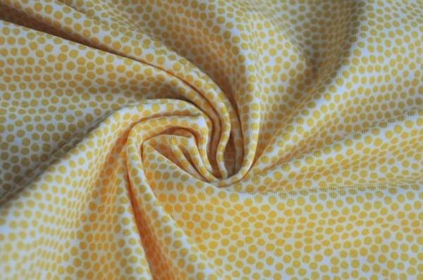 Hilco Jersey - Market Dots, sunny yellwo - 95% Baumwolle, 5% Elasthan, Kinderstoff, punkte, gelb
