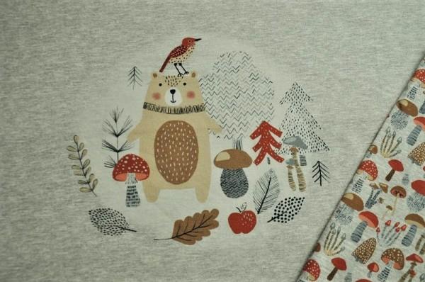 Sweat-Panel 58cm - Forest Fungi - 95% Baumwolle (kba), 5% Elasthan, Herbststoffe, Kinderstoffe