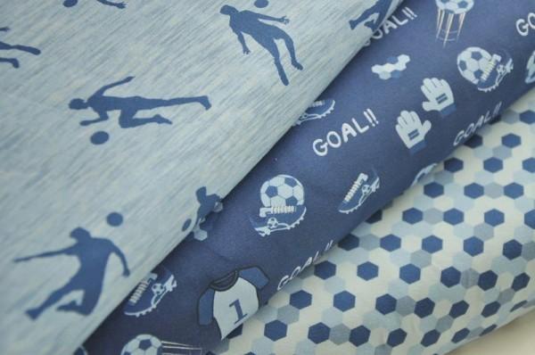 Hilco Jersey Stoffpaket - Soccer Match - Fußball, Kinderstoffe, blau