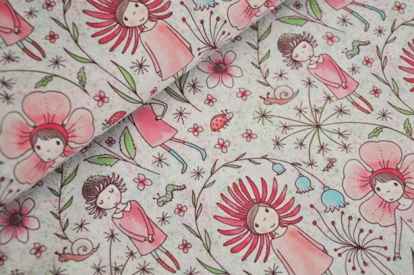 Lillestoff Bio Jersey - Blumenmädchen - 95% Baumwolle (kba), 5% Elasthan, meterware, Kinderstoffe, Bio Stoffe