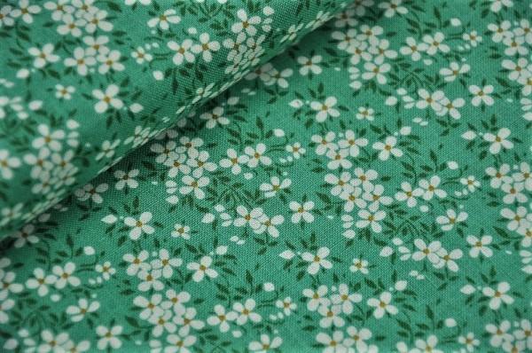 Webware Tilda - Peggy, salbeigrün - 100% Baumwolle, Blumen