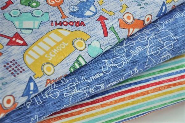 Hilco Jersey Stoffpaket - Trafic Line - Kinderstoffe, Autos, Flugzeuge, Streifen
