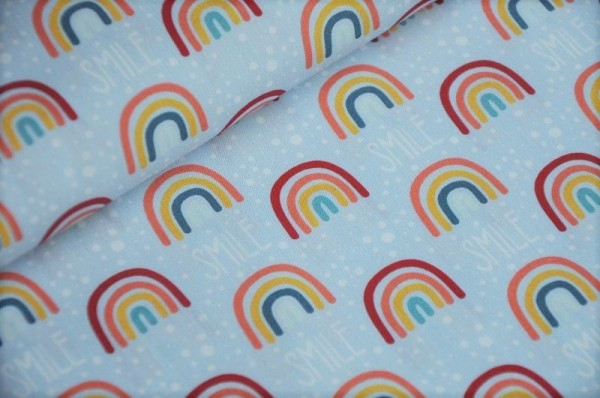 Webware - Popeline - Smile, Regenbogen, hellblau - 100% Baumwolle, Maskenstoffe, Kinderstoffe