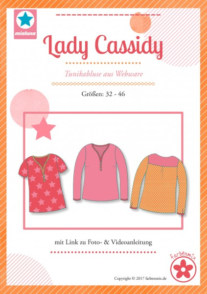 miaLuna - Schnittmuster Lady Cassidy, Tunikabluse aus Webware - Gr. 32 - 46