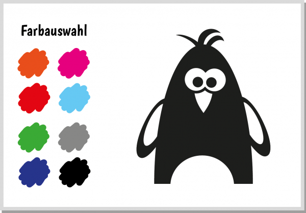 Velours-Motiv Pinguin