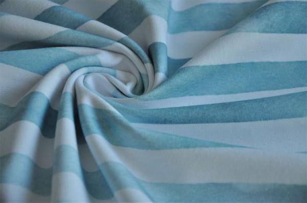 Lillestoff Bio Jersey - Auqaringel, blaugrün - Jersey mit Streifen