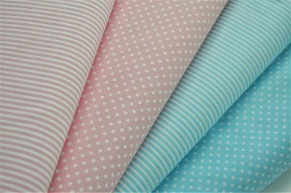 Basics-Stoffpaket - Punkte & Streifen, rosa/hellblau - 100% Baumwolle