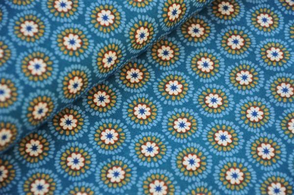 Webware - Popeline - Emilie RetroFlowers, petrol - 100% Baumwolle, Meterware, florale Stoffe Hilco