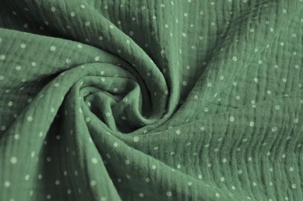Hilco - Baumwoll Musselin - Punkte, jade grün - 100% Baumwolle, Kinderstoff, Stoffe für Babies