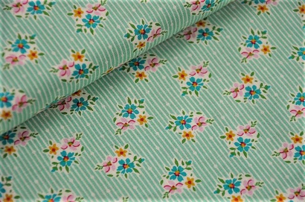 Webware - Tilda - Nancy, teal - 100% Baumwolle, Blumen