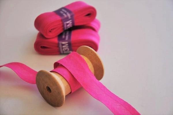 Baumwoll Schrägband 3 Meter - uni, pink, 20mm breit - 100% Baumwolle