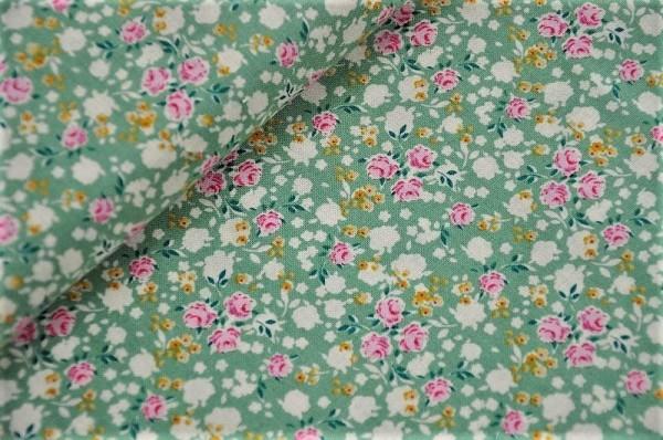 Webware - Tilda - Bonnie, salbeigrün - 100% Baumwolle, Blumen