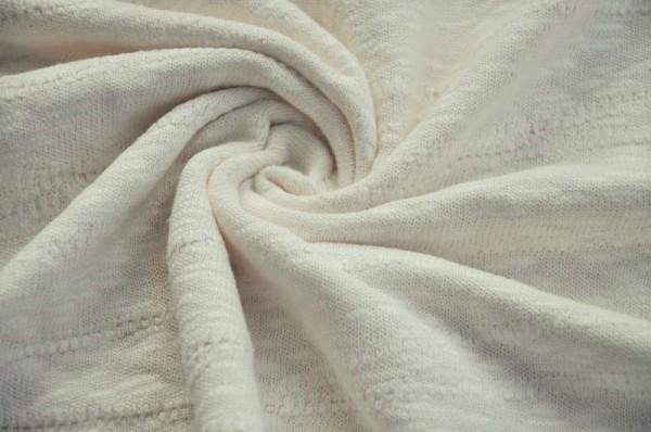 Organic Slub Jacquard Knit - creamy white - 100% Baumwolle (kba), Jacquard Jersey, Bio Stoff Meterware