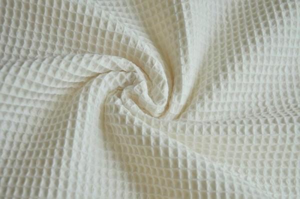 Webware - Waffelpiqué, uni cremeweiß, 100% Baumwolle, Meterware, Hilco